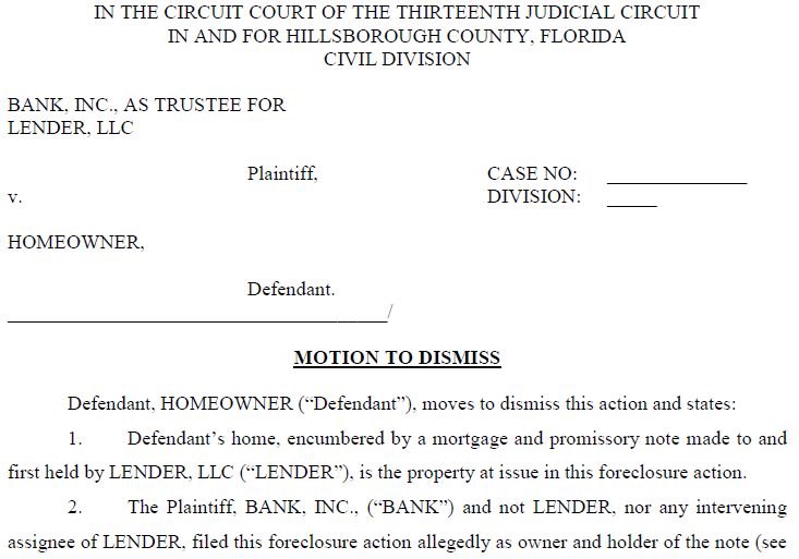 Foreclosure Defense Forms – Motion to Dismiss